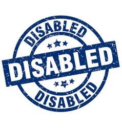 disabled blue round grunge stamp vector image