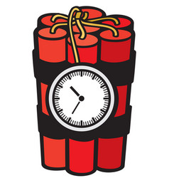 Dynamite sticks with clock timer vector