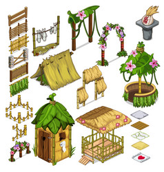 Elements of everyday life of the ancient village vector