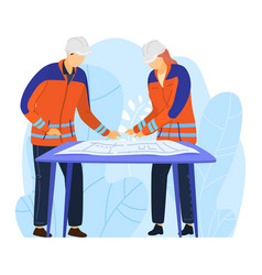 Engineers male character examine drawing project vector