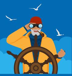 fisherman looking through binoculars standing at vector image