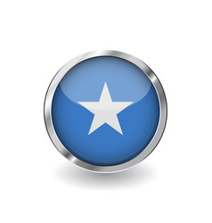 Flag of somalia button with metal frame and vector