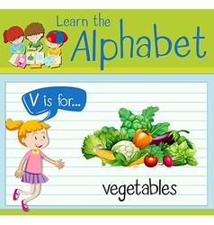 Flashcard letter V is for vegetables vector image