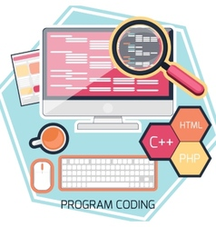 Flat design concept of program coding vector image