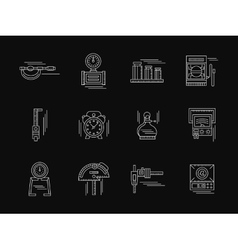 Gauging tools white flat line icons vector image