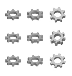 Gear icon set in 3d style vector image