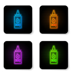 glowing neon ketchup bottle icon isolated on vector image