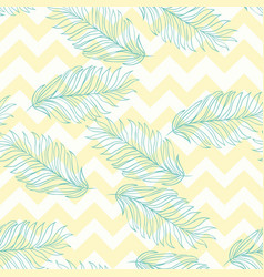 green palm leaves on the pink background seamless vector image
