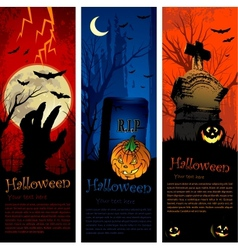 Halloween party invitation banners vector