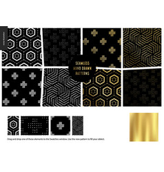 hand drawn patterns - black vector image