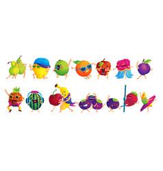 Happy dancing fruits cartoon stickers set vector