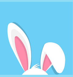 Happy easter with bunny ears on blue background vector
