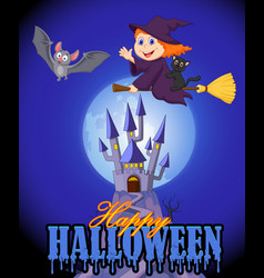 Happy halloween with bats and a little witch on a vector