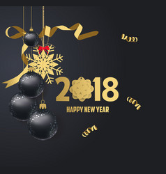 happy new year 2018 gold and black colors place vector image vector image