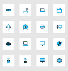 Hardware colorful icons set collection of vector