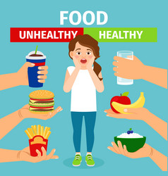 Healthy and unhealthy food choice vector