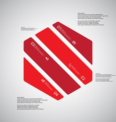 Hexagon template consists of four red parts on vector