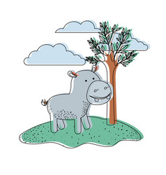 Hippopotamus cartoon in outdoor scene with trees vector