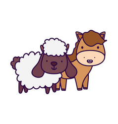 horse and sheep farm animal cartoon vector image