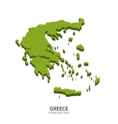 Isometric map of Greece detailed vector image