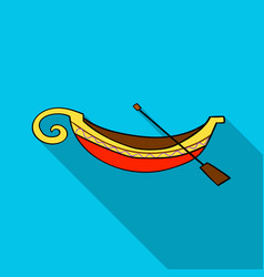 Italian gondola icon in flat style isolated on vector