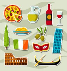 Italy icons set italian sticker symbols and vector
