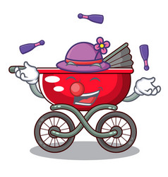 juggling modern baby stroller isolated against vector image