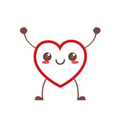 kawaii heart healthy icon vector image