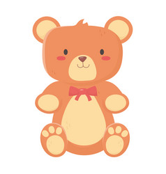 kids toys teddy bear with bow decoration isolated vector image