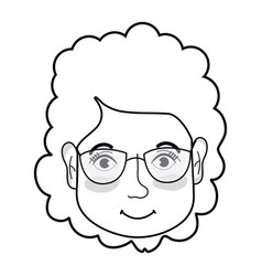 line woman face with hairstyle and glasses vector image