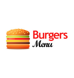 logotype for cafe with burgers and other lunch vector image