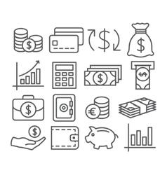 Money Line Icons vector image
