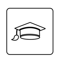 Monochrome contour square with graduation hat vector