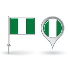 Nigerian pin icon and map pointer flag vector image vector image