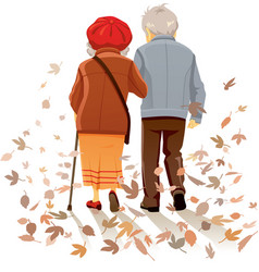 Old couple in love walking in autumn decor vector