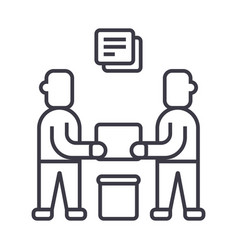 partnershipcontract signing line icon vector image