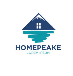 Peak real estate logo designs vector