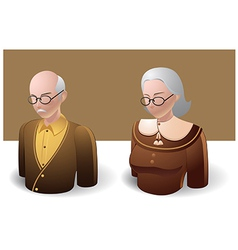 People Icons Old Man and Old Women vector image