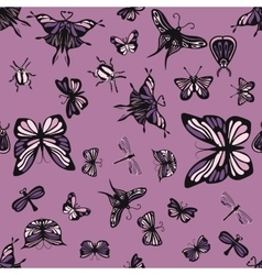 Pink and purple insects seamless pattern vector