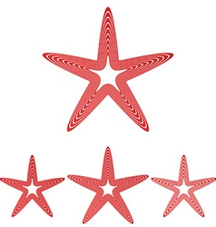 Red line star logo design set vector