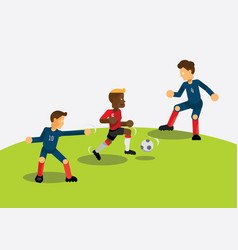 Red team soccer player dribbling during match game vector