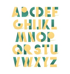Retro font in green and yellow Green alphabet vector image