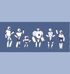 robots cartoon various androids models vector image