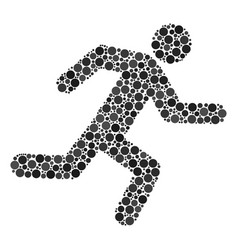 Running man collage of filled circles vector