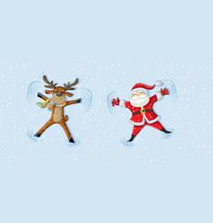 Santa and reindeer making snow angels celebrating vector