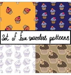 Seamless background set with cupcakes vector image