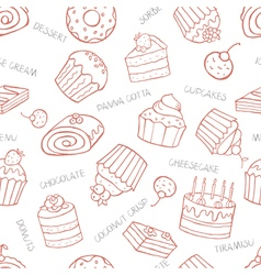 Seamless pattern of sweet cupcakes and cakes on a vector image