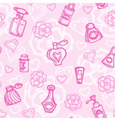 Seamless pattern with perfume bottles vector image