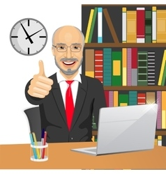 Senior businessman making thumbs up hand sign vector