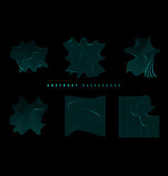 set elements blue glowing wavy particles vector image